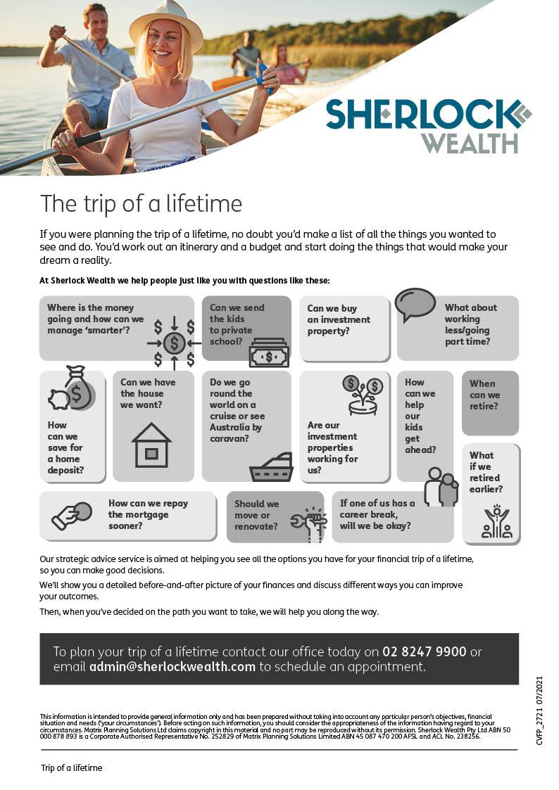 Trip of a lifetime brochure - Sherlock Wealth